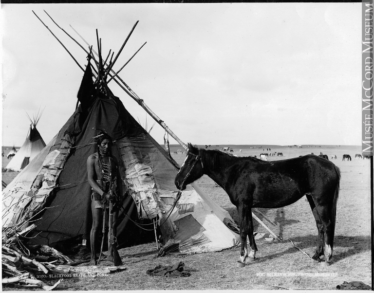 Blackfoot Brave and Pony near Calgary, 1889 W. M Notman